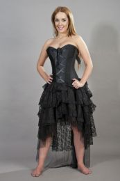 Beverly prom corset dress in black taffeta