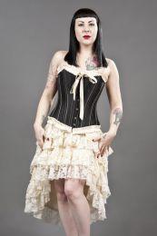 bijou overbust burlesque corset in black taffeta