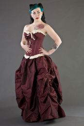 bijou overbust burlesque corset in burgundy taffeta