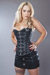 Biker overbust zip up corset in black twill