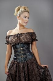 biker underbust corset with studs in black and brown matte