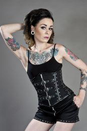 biker underbust corset with studs in black twill