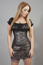 biker underbust corset with studs in brown matte