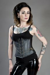 Black steampunk underbust corset with pocket watch in matte vinyl