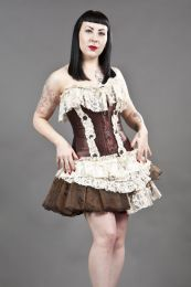 Black Widow gothic mini skirt in brown organza