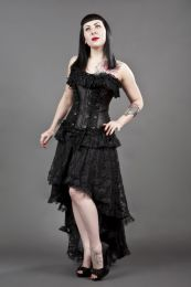 black widow overbust gothic corset with zip in black satin