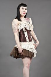 black widow overbust gothic corset in brown and cream satin