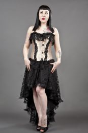 black widow overbust gothic corset in gold and black satin