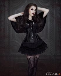 Morgana underbust steel boned corset in black velvet flock