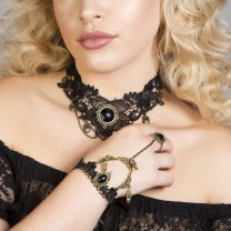 Angelique Black Lace gothic bracelet with ring