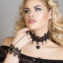 Black Onyx Gothic bracelet with ring