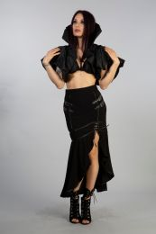 Amazing Blade bolero in solid black taffeta. Medici collar shrug perfect for your goth nights out.