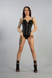 Inferno underbust in Black Twill and Black Matt Imitation Leather