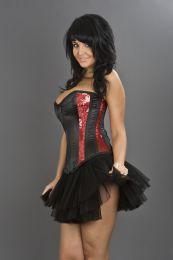 boudoir overbust burlesque corset with zip in red sequins