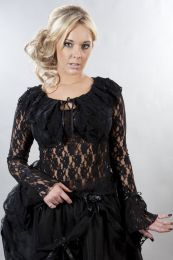 Brenda gothic long sleeve top in black lace