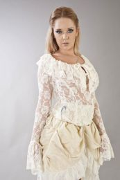 Brenda long sleeve victorian vintage top in cream lace