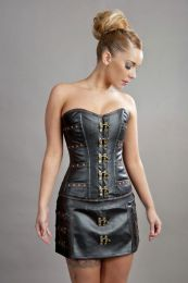 C-Lock steampunk mini skirt in black and brown matte vinyl
