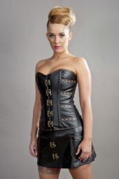 C-Lock overbust steampunk corset in black & brown matte vinyl