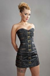 c-lock steampunk overbust corset in black scroll brocade