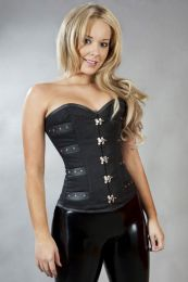 c-lock overbust steampunk corset in black twill