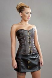 C-Lock overbust steampunk corset in brown & black matte vinyl