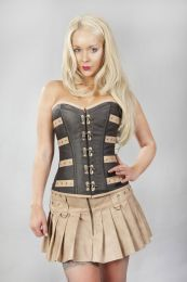 c-lock overbust steampunk corset in coffee brown and camel matte