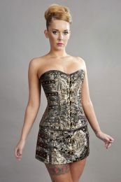C-Lock steampunk overbust corset in gold king brocade