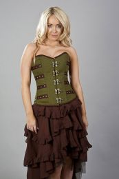 c-lock overbust steampunk corset in olive green and brown twill