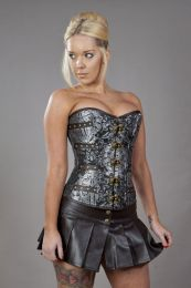 c-lock steampunk overbust corset in silver scroll brocade