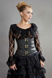 c-lock underbust steampunk corset in black scroll brocade