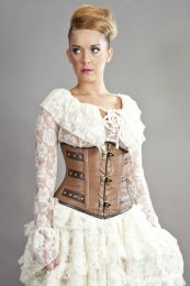 C-Lock underbust steampunk corset in camel & brown napa leather