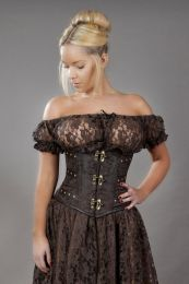 c-lock steampunk underbust corset in brown king brocade-back