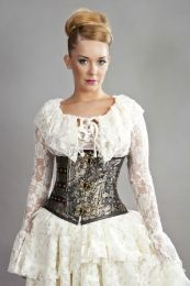 C-Lock underbust steampunk corset in gold king brocade
