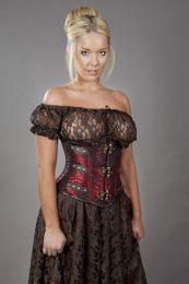 C-Lock underbust steampunk corset in red king brocade