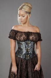 c-lock underbust steampunk corset in silver king brocade