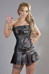 Cadogan overbust steampunk corset in black and brown matte Vinyl