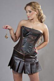 Cadogan overbust steampunk corset in brown and black matte vinyl