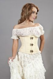 Candy c-lock underbust burlesque corset in cream brocade