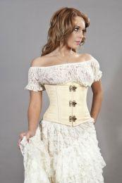 Candy c-lock underbust burlesque corset in cream brocade