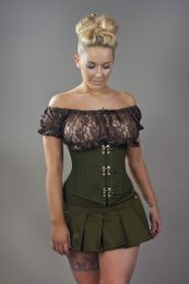 Candy c-lock steel boned underbust corset in olive green twill