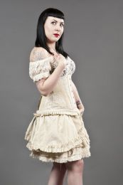 Candy flared mini skirt in cream taffeta and Lace underlay