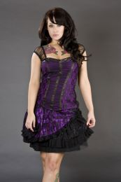 Candy mini flare skirt in purple satin and black lace overlay