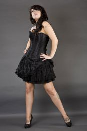 Candy black mini skirt in satin and black lace overlay