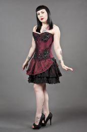 Candy burlesque mini skirt in burgundy taffeta