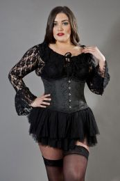 Candy plus size underbust waist training corset in black brocade