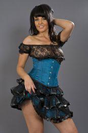 Candy steel boned underbust corset waist cincher in turquoise satin