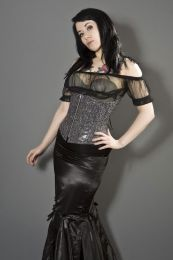 Candy underbust corset with zip in black bond