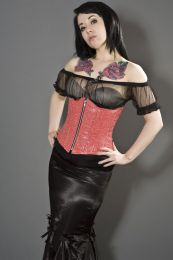 Candy underbust burlesque corset with front zip in red bond