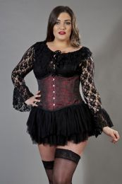 Candy underbust plus size steel boned corset in red brocade