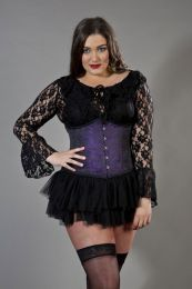 Candy underbust plus size waist training corset in purple brocade